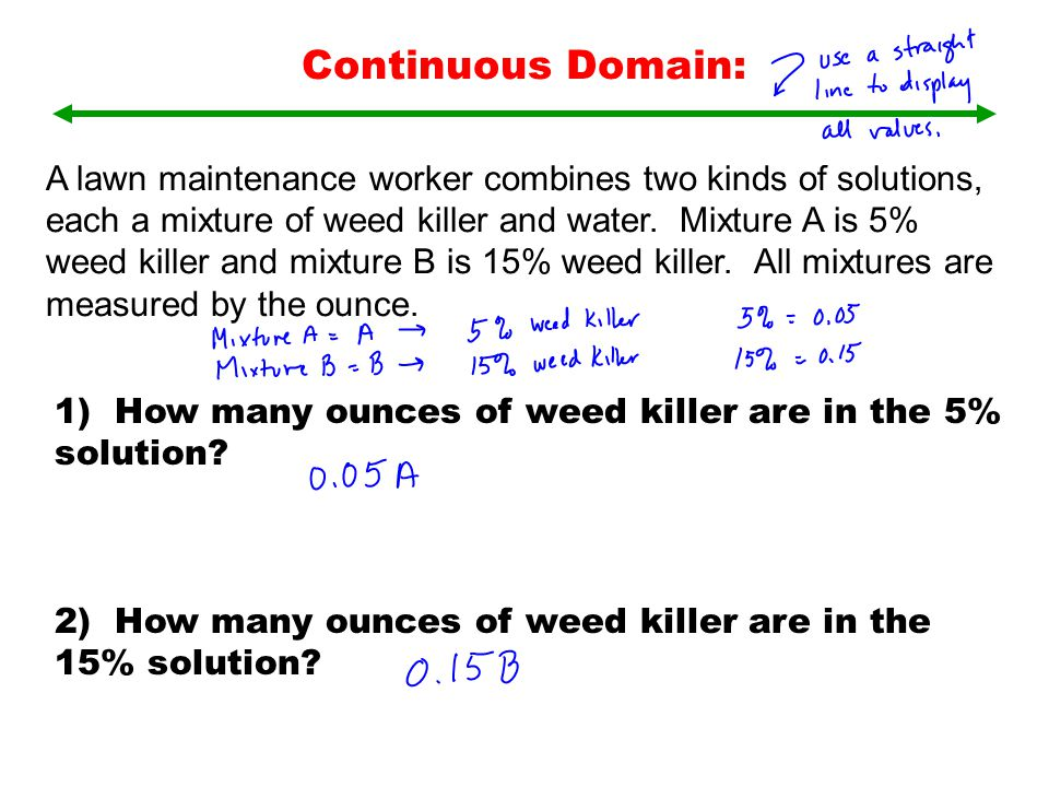A lawn maintenance worker combines two kinds of solutions, each a mixture of weed killer and water. Mixture A is 5% weed killer and mixture B is 15% w