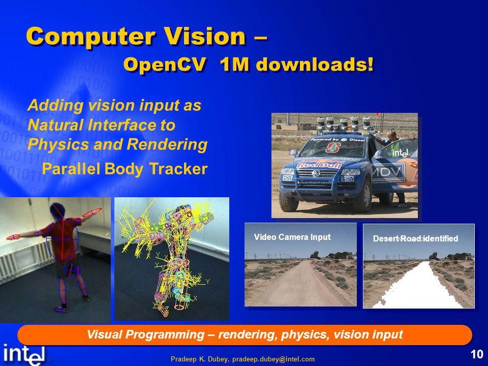 Pradeep K. Dubey, pradeep.dubey@intel.com 10 Computer Vision – OpenCV 1M downloads.