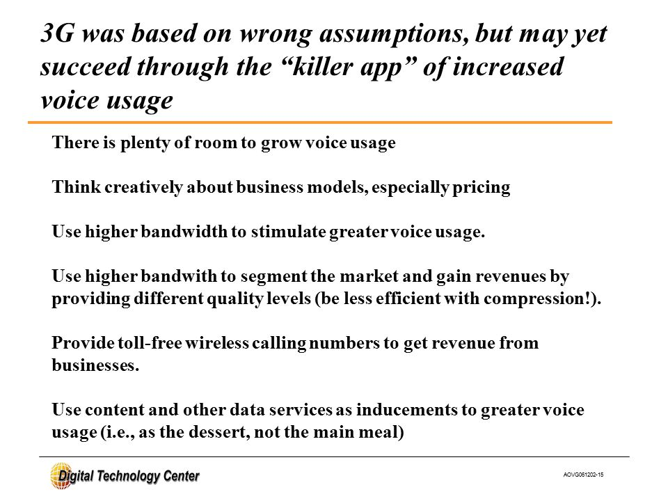 AOVG061202-15 There is plenty of room to grow voice usage Think creatively about business models, especially pricing Use higher bandwidth to stimulate greater voice usage.