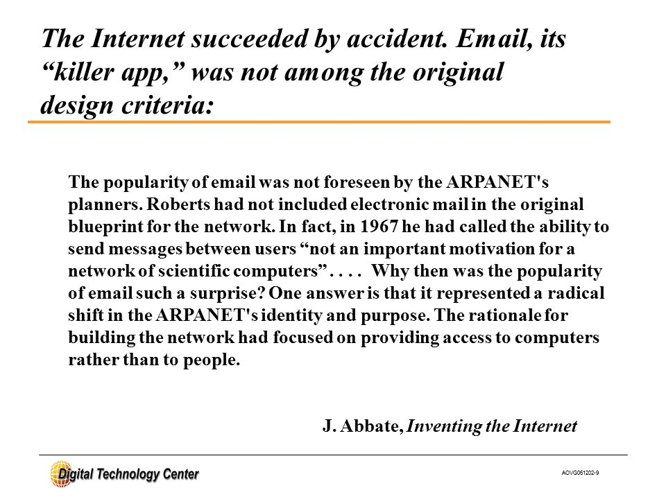 AOVG061202-9 The popularity of email was not foreseen by the ARPANET s planners.