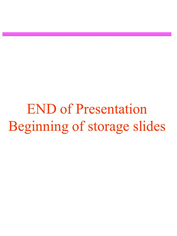 END of Presentation Beginning of storage slides