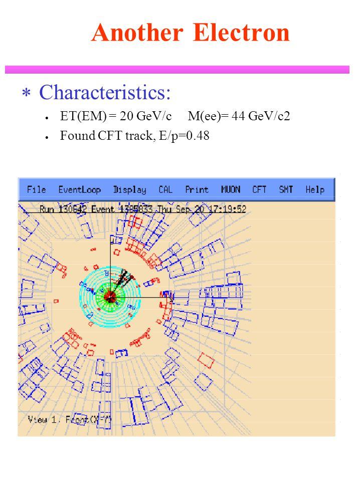 Another Electron  Characteristics:  ET(EM) = 20 GeV/c M(ee)= 44 GeV/c2  Found CFT track, E/p=0.48