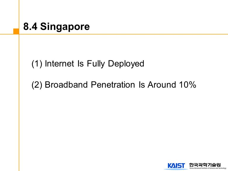 (1) Internet Is Fully Deployed (2) Broadband Penetration Is Around 10% 8.4 Singapore