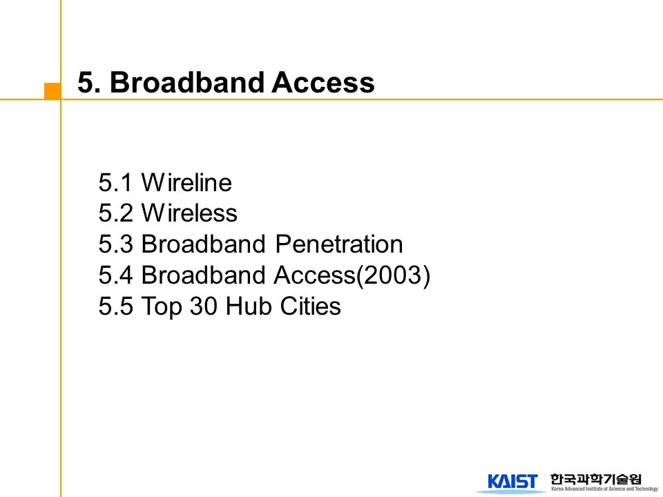 5. Broadband Access 5.1 Wireline 5.2 Wireless 5.3 Broadband Penetration 5.4 Broadband Access(2003) 5.5 Top 30 Hub Cities