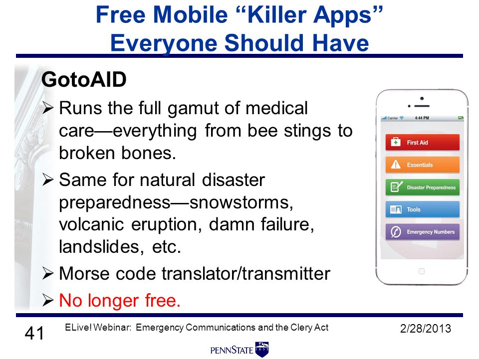 41 Free Mobile Killer Apps Everyone Should Have GotoAID  Runs the full gamut of medical care—everything from bee stings to broken bones.
