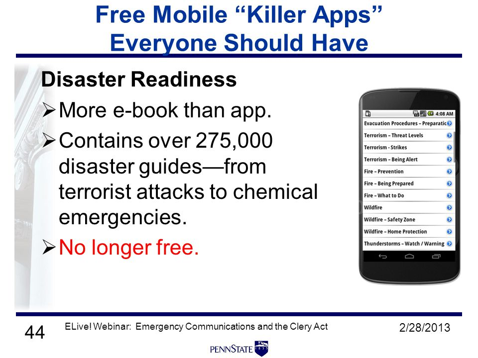 44 Free Mobile Killer Apps Everyone Should Have Disaster Readiness  More e-book than app.