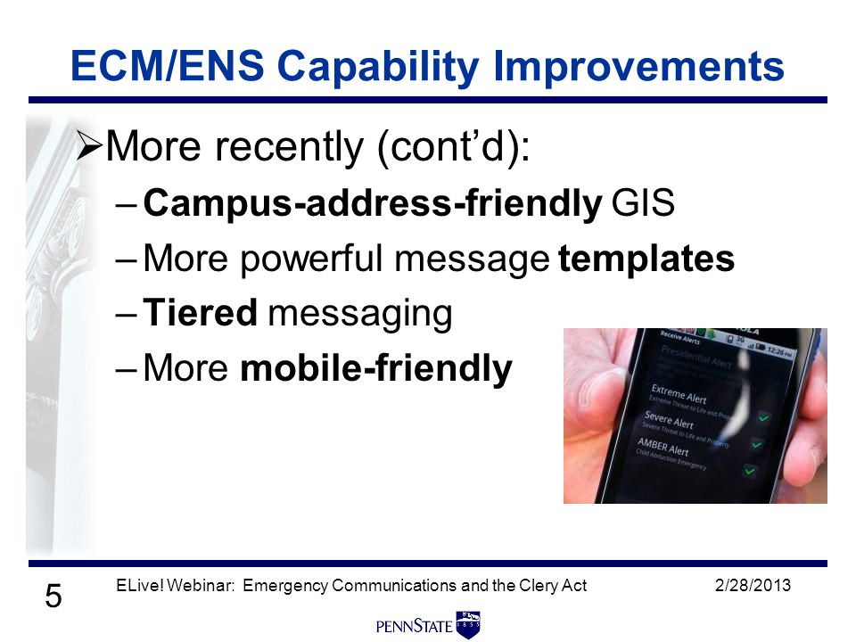 5  More recently (cont'd): –Campus-address-friendly GIS –More powerful message templates –Tiered messaging –More mobile-friendly 2/28/2013ELive.