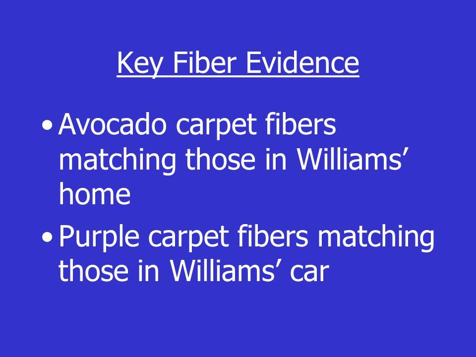 Key Fiber Evidence Avocado carpet fibers matching those in Williams' home Purple carpet fibers matching those in Williams' car