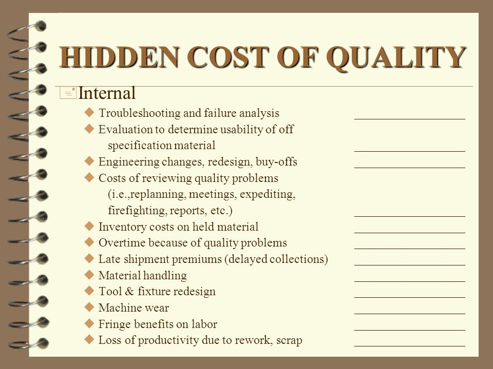 HIDDEN COST OF QUALITY + Internal uTroubleshooting and failure analysis__________________ uEvaluation to determine usability of off specification mate