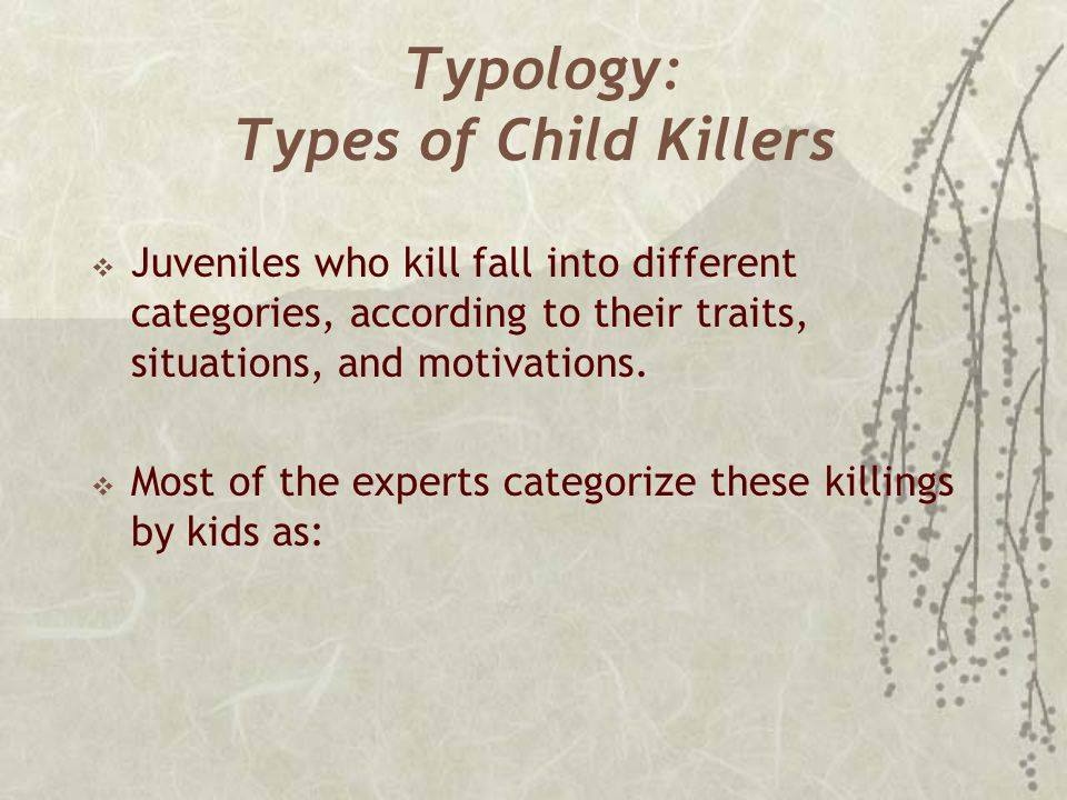 Typology: Types of Child Killers  Juveniles who kill fall into different categories, according to their traits, situations, and motivations.  Most o