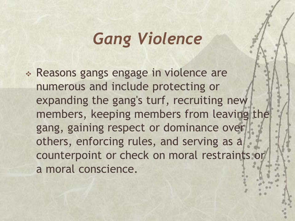 Gang Violence  Reasons gangs engage in violence are numerous and include protecting or expanding the gang's turf, recruiting new members, keeping mem