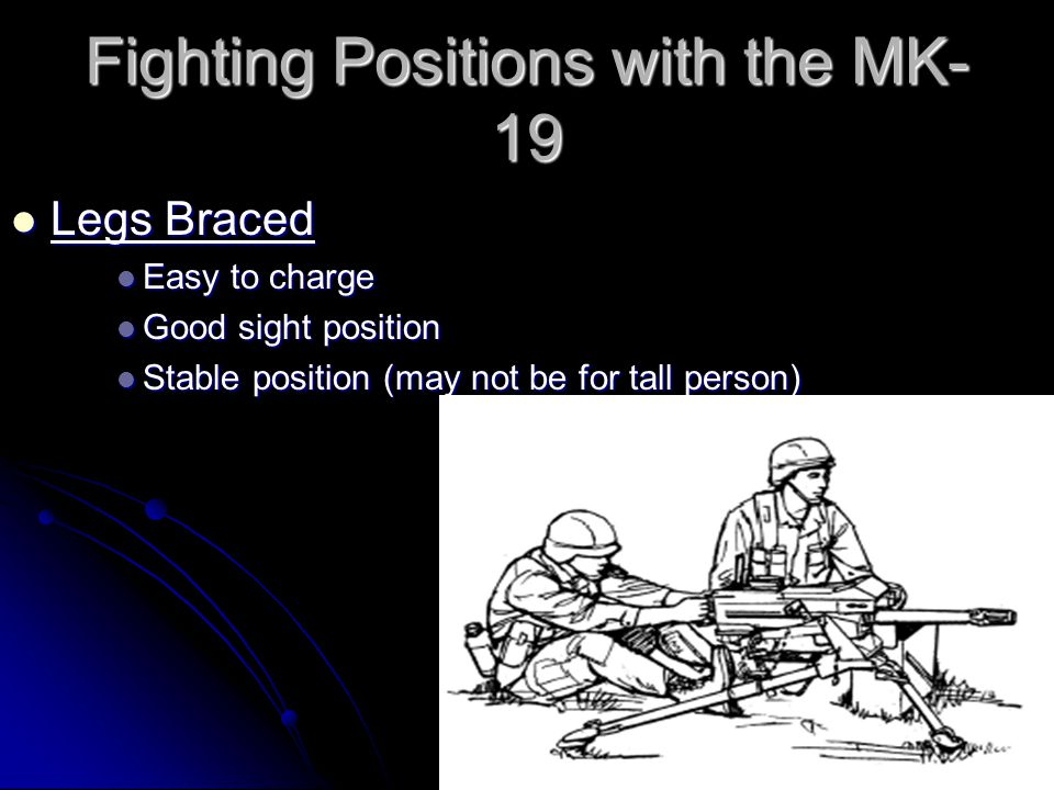 Fighting Positions with the MK- 19 Legs Crossed Legs Crossed Good sight position Good sight position Hard to charge Hard to charge Good position for short person Good position for short person