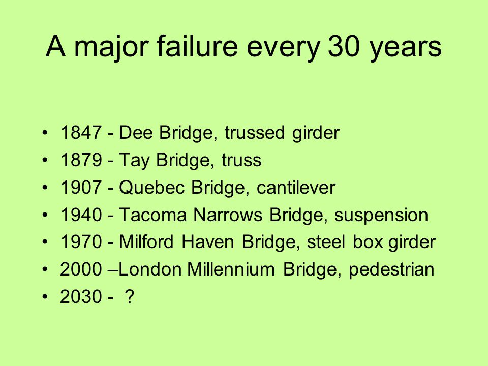 A major failure every 30 years 1847 - Dee Bridge, trussed girder 1879 - Tay Bridge, truss 1907 - Quebec Bridge, cantilever 1940 - Tacoma Narrows Bridge, suspension 1970 - Milford Haven Bridge, steel box girder 2000 –London Millennium Bridge, pedestrian 2030 - ?