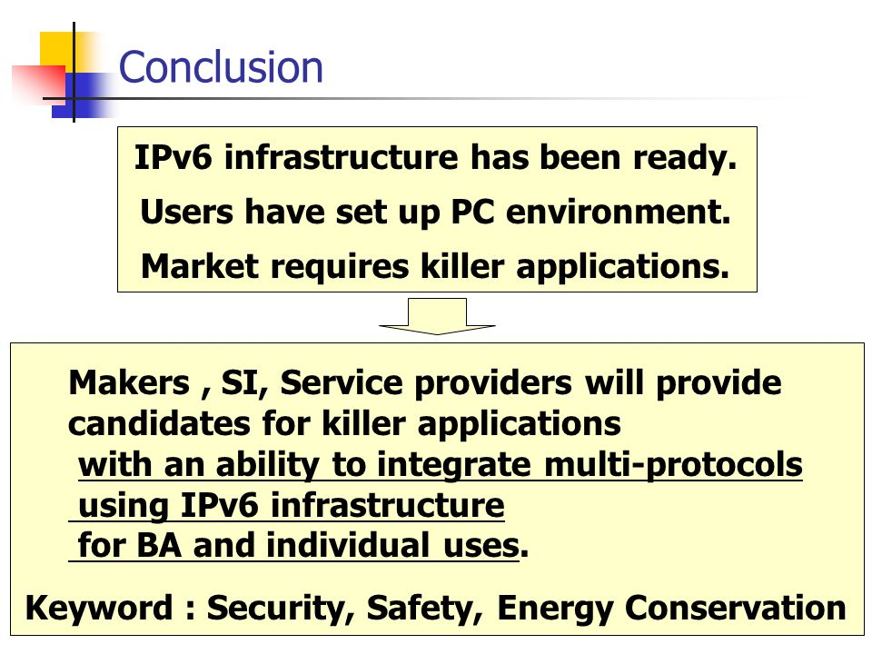 Conclusion IPv6 infrastructure has been ready. Market requires killer applications.