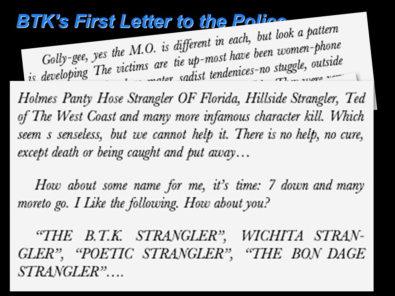 BTK's First Letter to the Police