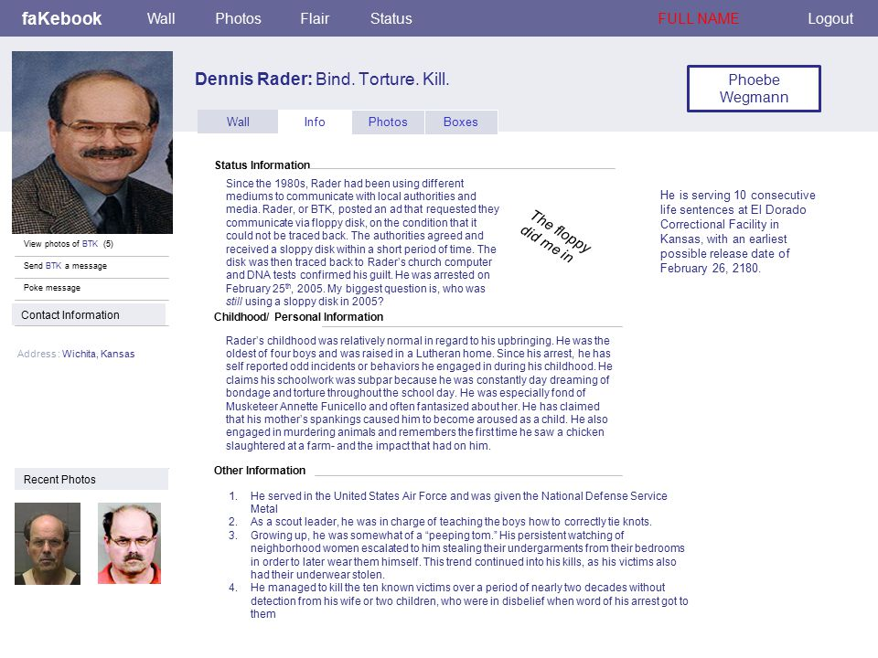 Childhood/ Personal Information faKebook Dennis Rader: Bind.