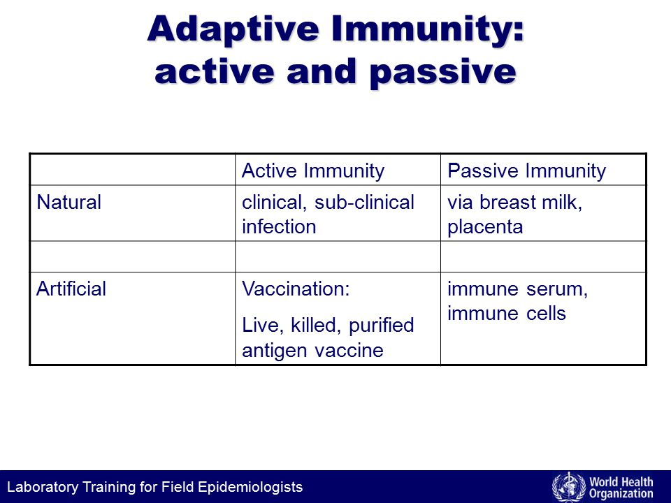 Laboratory Training for Field Epidemiologists Adaptive Immunity: active and passive Active ImmunityPassive Immunity Naturalclinical, sub-clinical infection via breast milk, placenta ArtificialVaccination: Live, killed, purified antigen vaccine immune serum, immune cells
