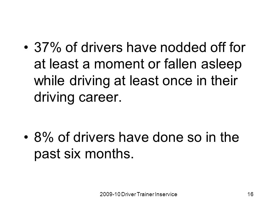 37% of drivers have nodded off for at least a moment or fallen asleep while driving at least once in their driving career. 8% of drivers have done so