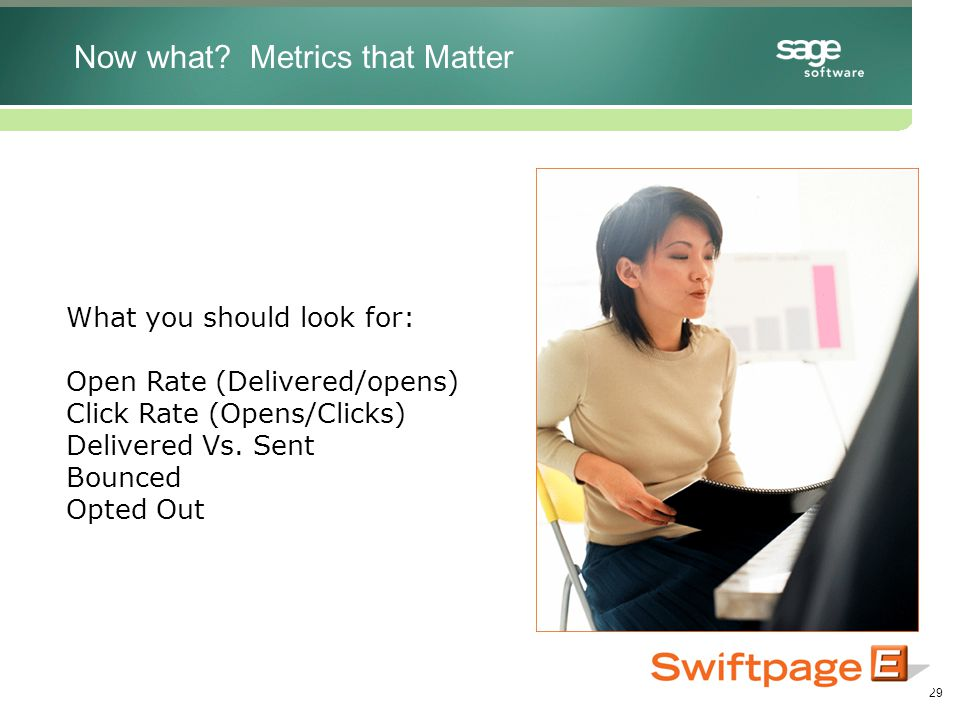 29 What you should look for: Open Rate (Delivered/opens) Click Rate (Opens/Clicks) Delivered Vs.