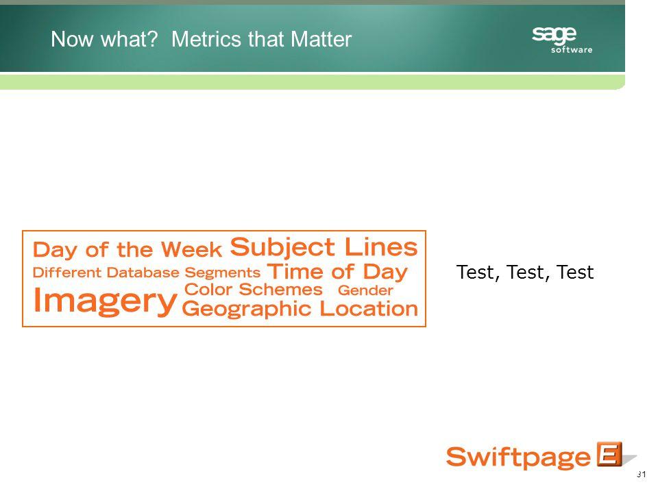 31 Test, Test, Test Now what Metrics that Matter