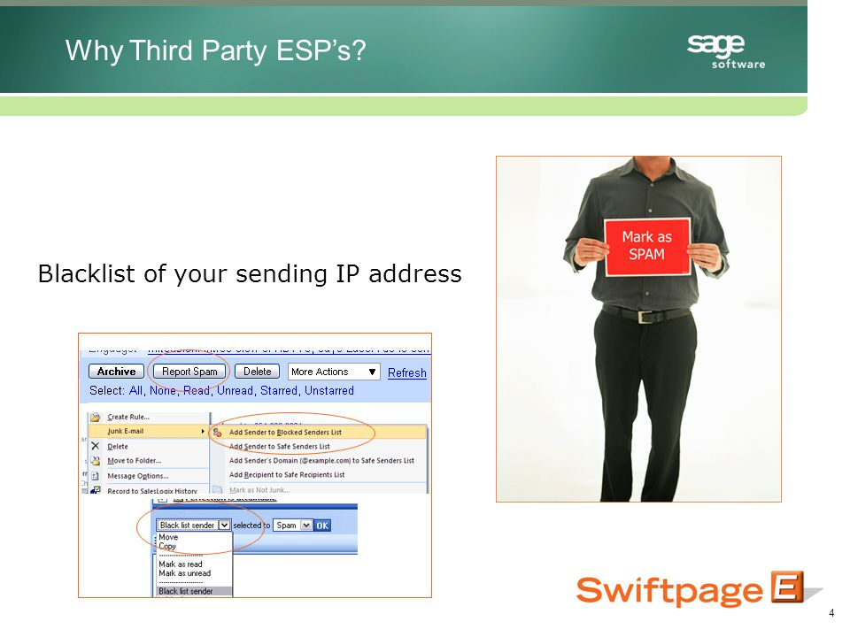 4 Blacklist of your sending IP address Why Third Party ESP's