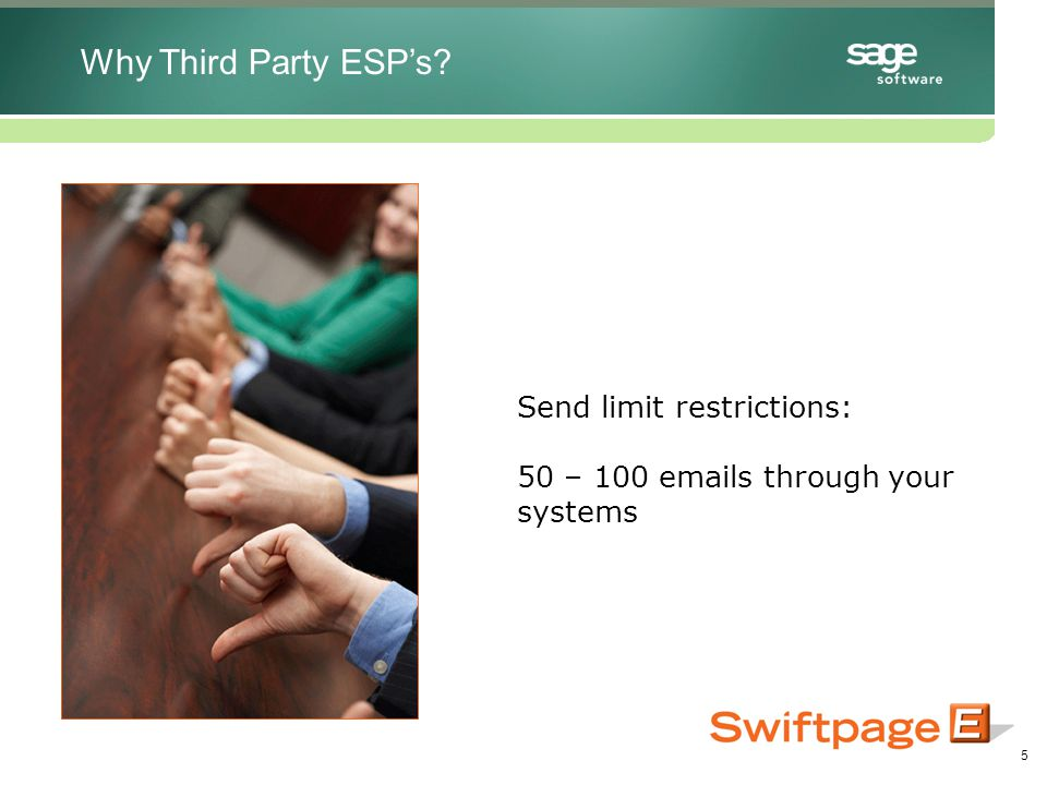 5 Send limit restrictions: 50 – 100 emails through your systems Why Third Party ESP's