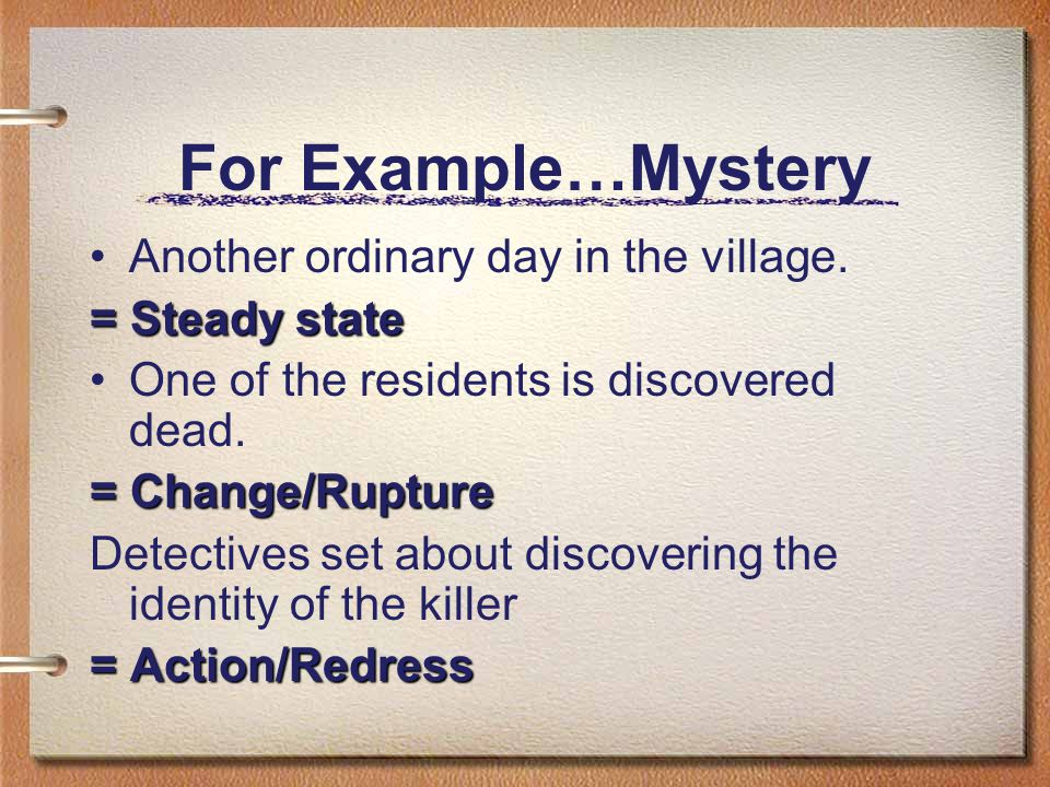 For Example…Mystery Another ordinary day in the village.