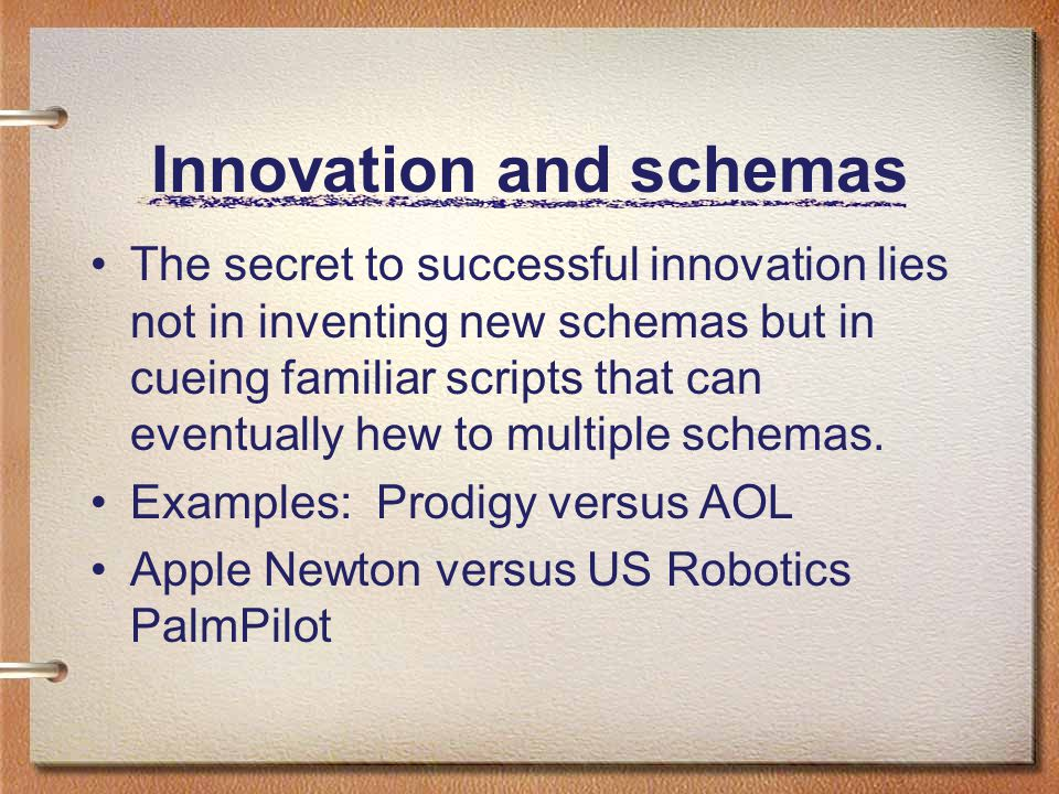 Innovation and schemas The secret to successful innovation lies not in inventing new schemas but in cueing familiar scripts that can eventually hew to multiple schemas.
