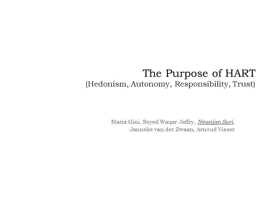 The Purpose of HART (Hedonism, Autonomy, Responsibility, Trust) Niranjan Suri Maria Gini, Seyed Waqar Jaffry, Niranjan Suri, Janneke van der Zwaan, Arnoud Visser