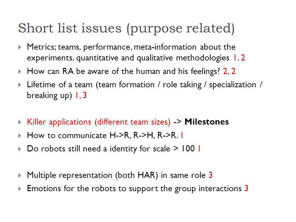 Short list issues (purpose related)  Metrics; teams, performance, meta-information about the experiments, quantitative and qualitative methodologies 1, 2  How can RA be aware of the human and his feelings.
