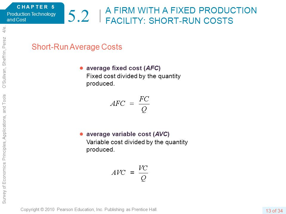 C H A P T E R 5 Production Technology and Cost 13 of 34 Copyright © 2010 Pearson Education, Inc.
