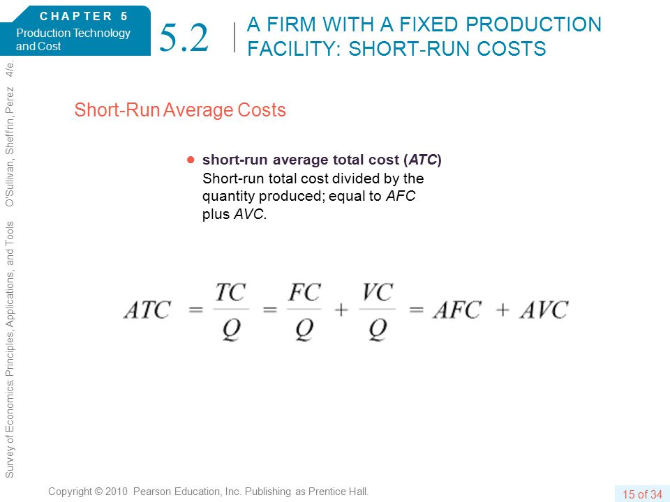 C H A P T E R 5 Production Technology and Cost 15 of 34 Copyright © 2010 Pearson Education, Inc.