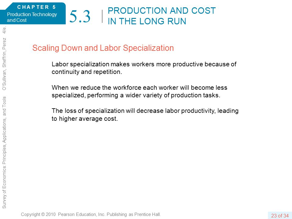 C H A P T E R 5 Production Technology and Cost 23 of 34 Copyright © 2010 Pearson Education, Inc.