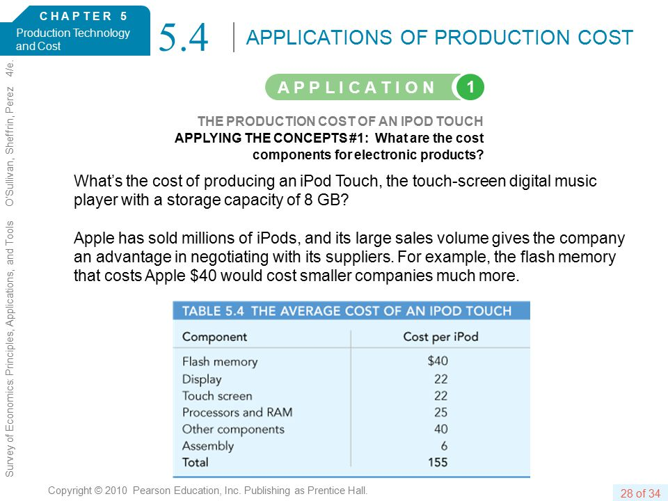 C H A P T E R 5 Production Technology and Cost 28 of 34 Copyright © 2010 Pearson Education, Inc.