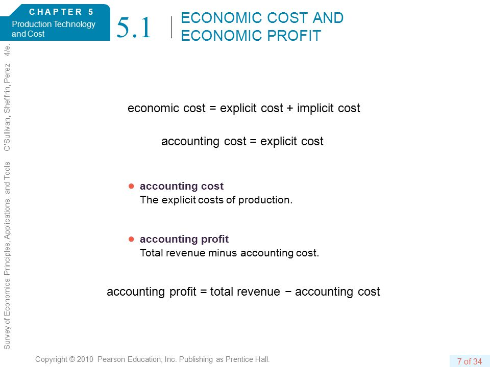 C H A P T E R 5 Production Technology and Cost 7 of 34 Copyright © 2010 Pearson Education, Inc.