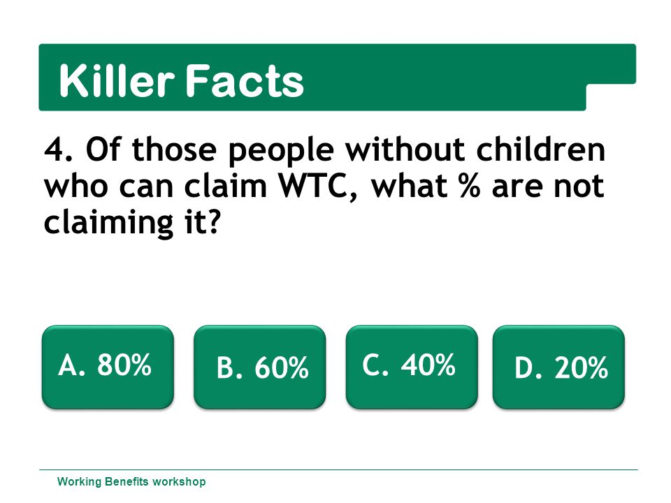 Killer Facts 4.Of those people without children who can claim WTC, what % are not claiming it.