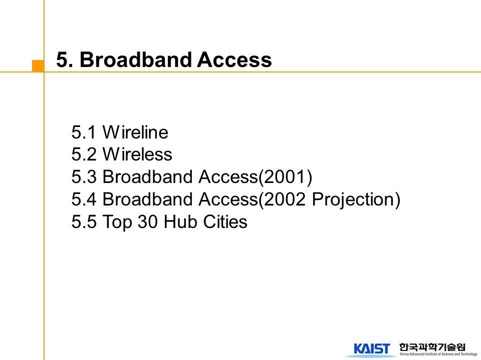 5. Broadband Access 5.1 Wireline 5.2 Wireless 5.3 Broadband Access(2001) 5.4 Broadband Access(2002 Projection) 5.5 Top 30 Hub Cities