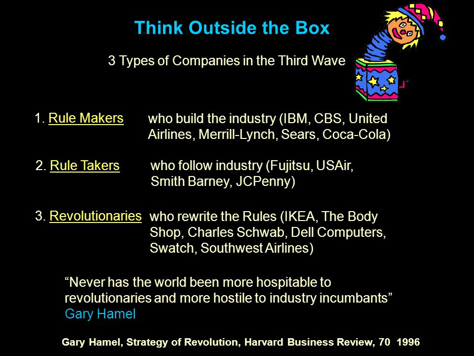 Think Outside the Box 3 Types of Companies in the Third Wave 1.