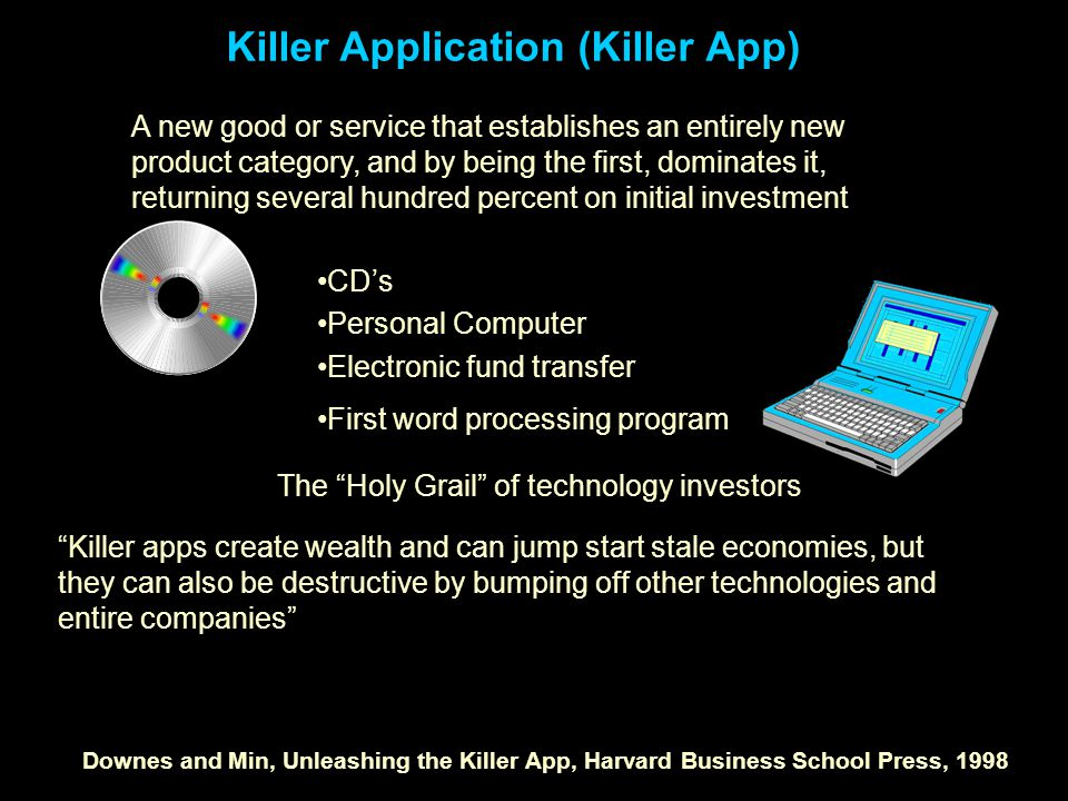 Killer Application (Killer App) A new good or service that establishes an entirely new product category, and by being the first, dominates it, returning several hundred percent on initial investment CD's Personal Computer Electronic fund transfer First word processing program The Holy Grail of technology investors Killer apps create wealth and can jump start stale economies, but they can also be destructive by bumping off other technologies and entire companies Downes and Min, Unleashing the Killer App, Harvard Business School Press, 1998