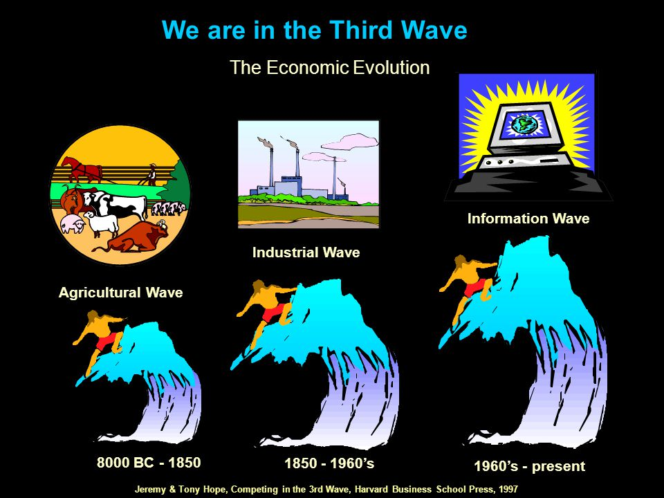 We are in the Third Wave The Economic Evolution 8000 BC - 1850 1960's - present 1850 - 1960's Agricultural Wave Industrial Wave Information Wave Jeremy & Tony Hope, Competing in the 3rd Wave, Harvard Business School Press, 1997
