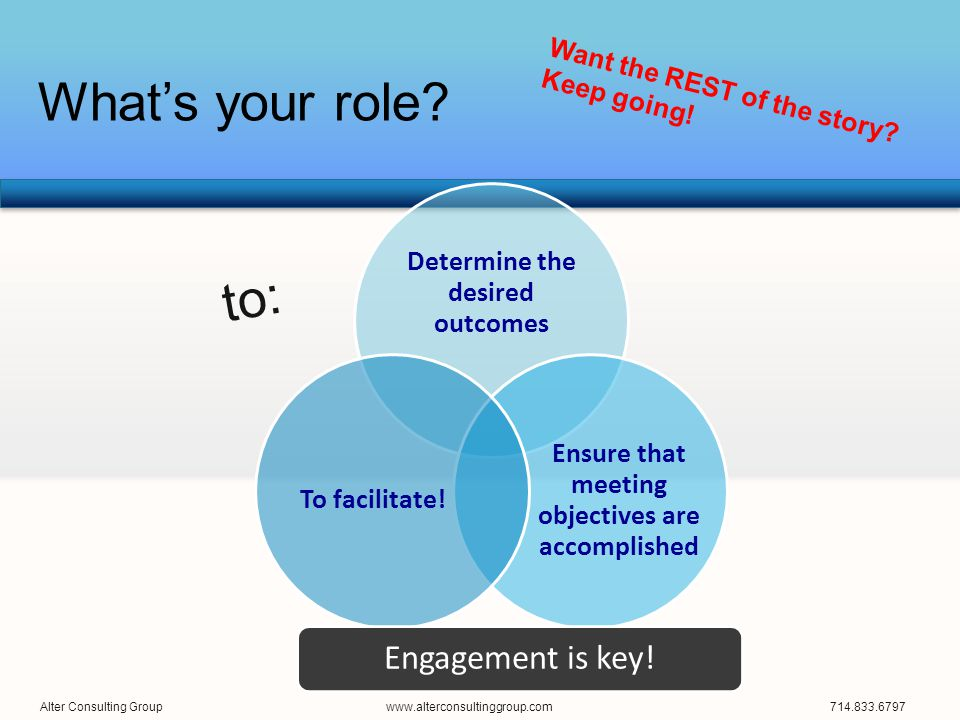 What's your role? Determine the desired outcomes Ensure that meeting objectives are accomplished To facilitate! Engagement is key! to: Alter Consultin