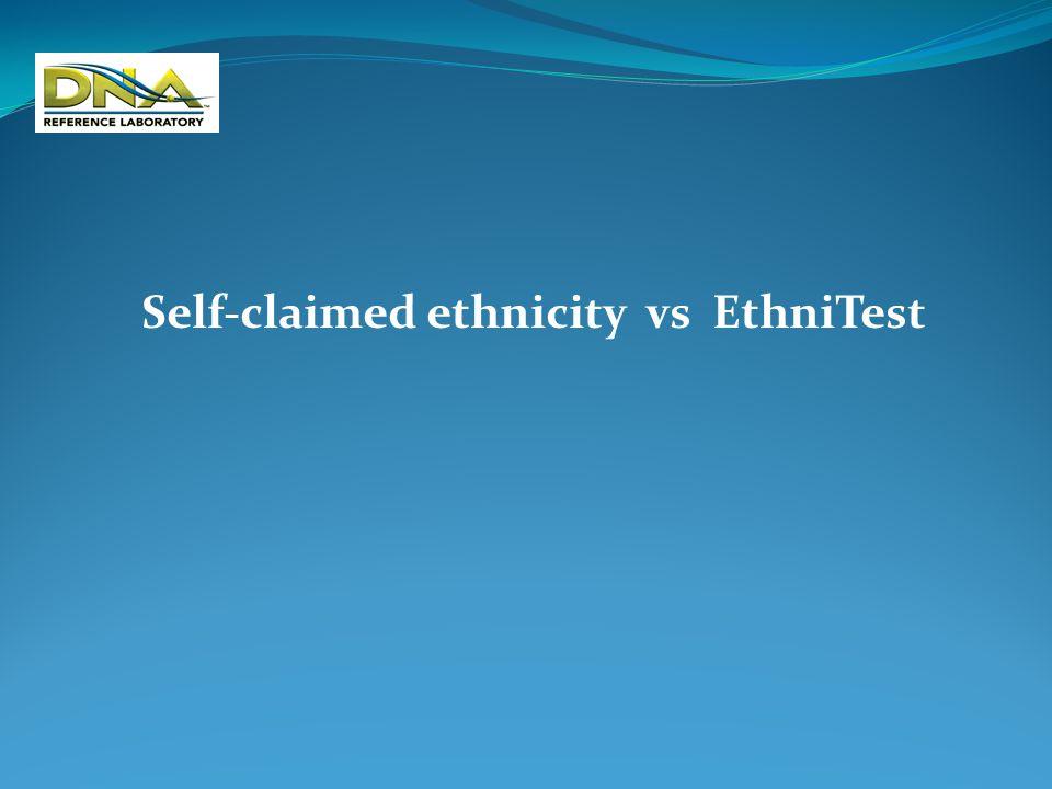 Self-reported race vs Ethnitest analysis of major US ethnic populations