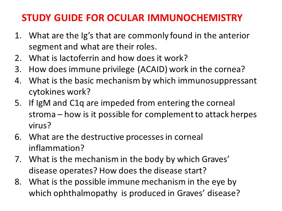 STUDY GUIDE FOR OCULAR IMMUNOCHEMISTRY 1.What are the Ig's that are commonly found in the anterior segment and what are their roles. 2.What is lactofe