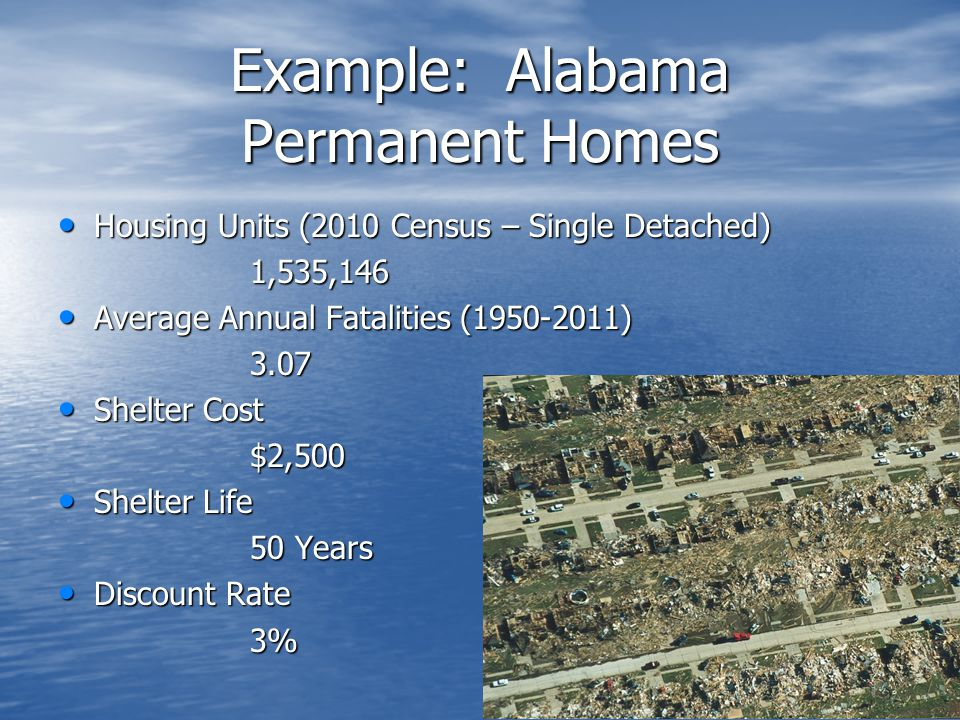 Example: Alabama Permanent Homes Housing Units (2010 Census – Single Detached) Housing Units (2010 Census – Single Detached)1,535,146 Average Annual Fatalities (1950-2011) Average Annual Fatalities (1950-2011)3.07 Shelter Cost Shelter Cost$2,500 Shelter Life Shelter Life 50 Years Discount Rate Discount Rate3%