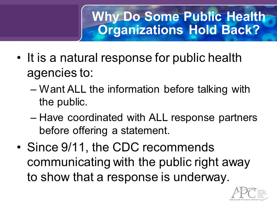 Why Do Some Public Health Organizations Hold Back.