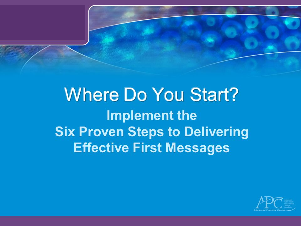 Implement the Six Proven Steps to Delivering Effective First Messages