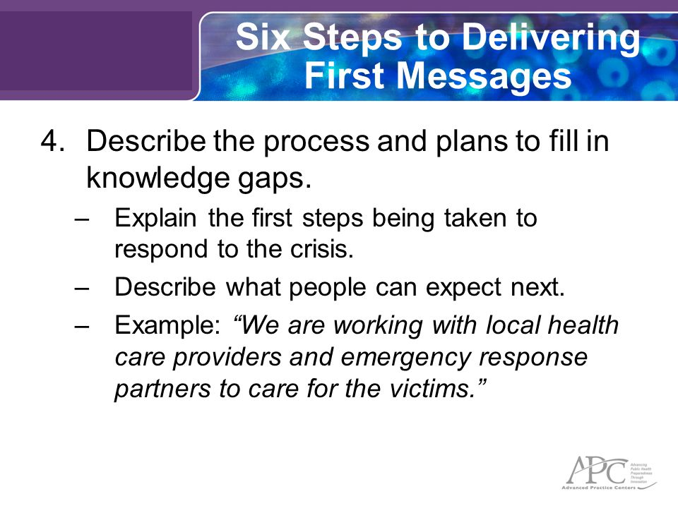 Six Steps to Delivering First Messages 4.Describe the process and plans to fill in knowledge gaps.