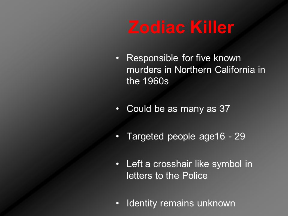 Zodiac Killer Responsible for five known murders in Northern California in the 1960s Could be as many as 37 Targeted people age16 - 29 Left a crosshair like symbol in letters to the Police Identity remains unknown