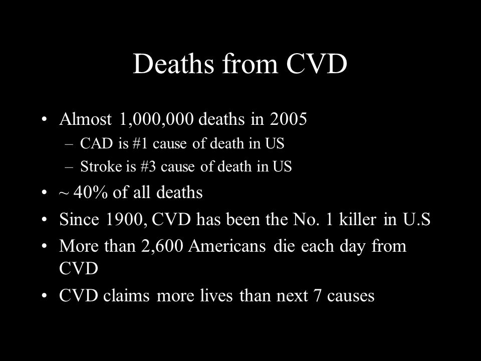Deaths from CVD Almost 1,000,000 deaths in 2005 –CAD is #1 cause of death in US –Stroke is #3 cause of death in US ~ 40% of all deaths Since 1900, CVD has been the No.