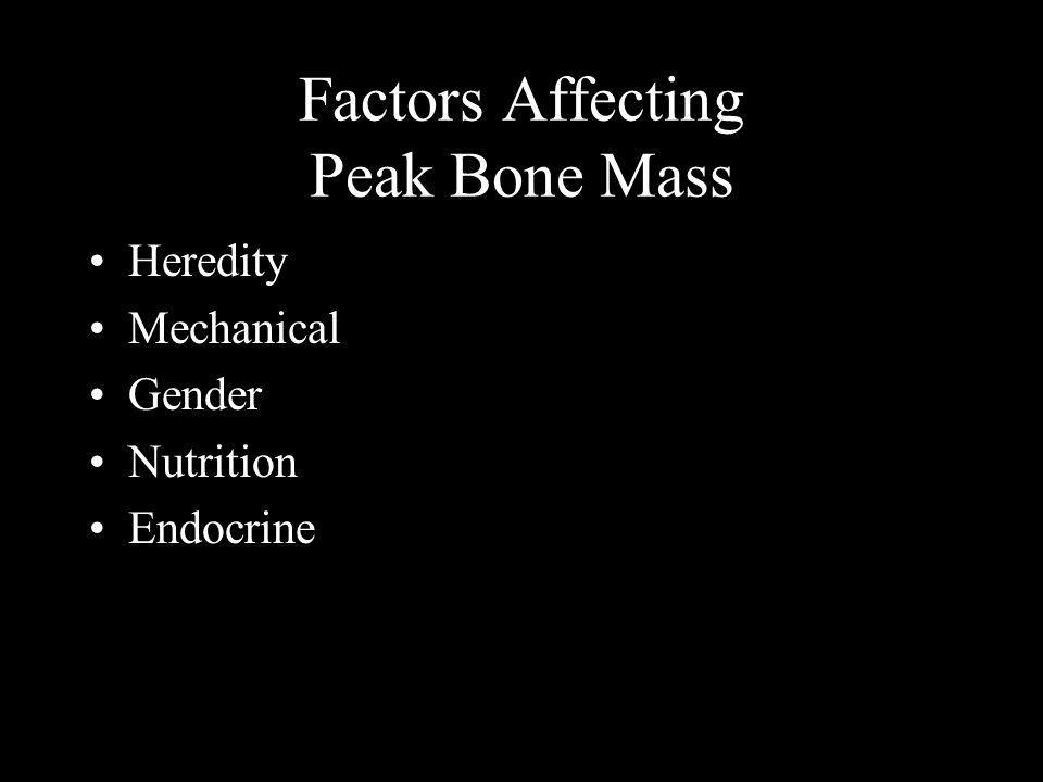 Factors Affecting Peak Bone Mass Heredity Mechanical Gender Nutrition Endocrine